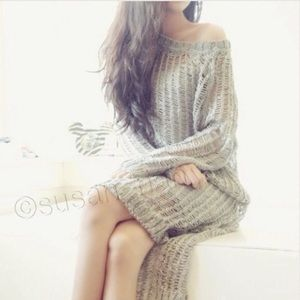 SALE Gray long oversized dress sweater