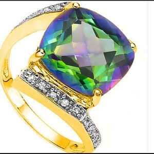 Jewelry - Green Mystic Gemstone and Diamond 925 Y Ring