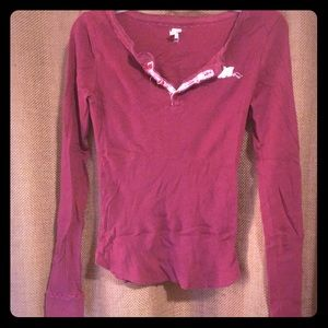 Free People V Neck Maroon Top (fits small!)