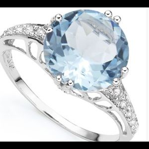 Jewelry - Sky Blue Topaz and Diamond 925 Sterling Ring