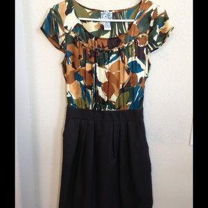 Anthropologie silk and tweed dress