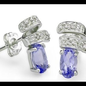 Jewelry - Tanzanite and Diamond 925 Sterling Earrings