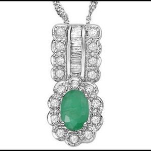 Jewelry - Emerald and Diamond 925 Sterling Silver Pendant