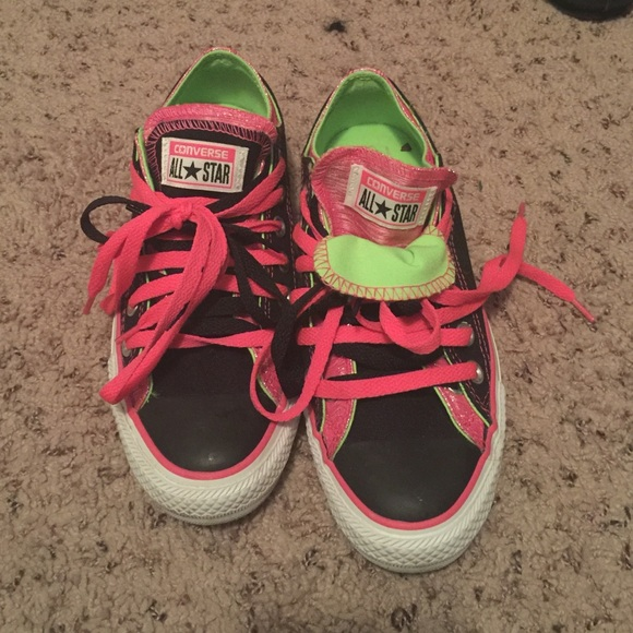 4cffbd4b593 Converse Shoes - Converse all stars black pink and lime green