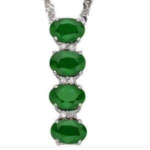 Jewelry - Emerald and Diamond 925 Sterling Pendant