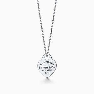 "Tiffany heart pendant, sterling silver, Chain 16"""