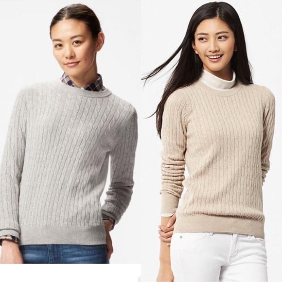 79% off UNIQLO Sweaters - Uniqlo Cotton Cashmere Cableknit Sweater ...