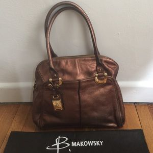 100% leather B. Makowsky tote w/ gold hardware