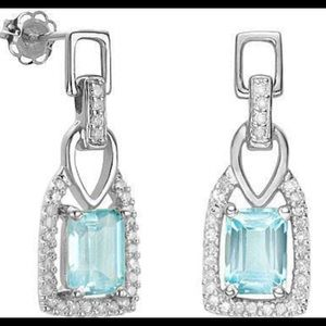 Jewelry - Blue Topaz And Diamond Earrings