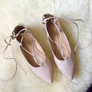 Nude lace up flats ballerina