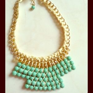 Mint Beaded Statement Necklace NEW