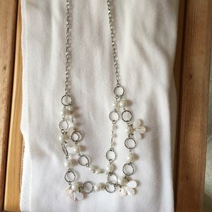 Flower double strand necklace