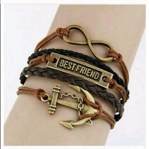 Jewelry - New Best Friend Anchor Leather Cord Bracelet