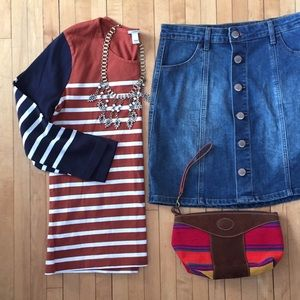 J crew striped heavy T shirt