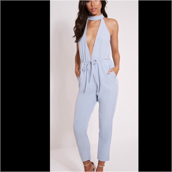 29% off Pants - Deep V powder blue jumpsuit from Shay's closet on ...