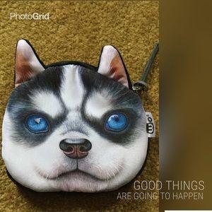 Handbags - 3D cute cartoon dog face zipper coins purse