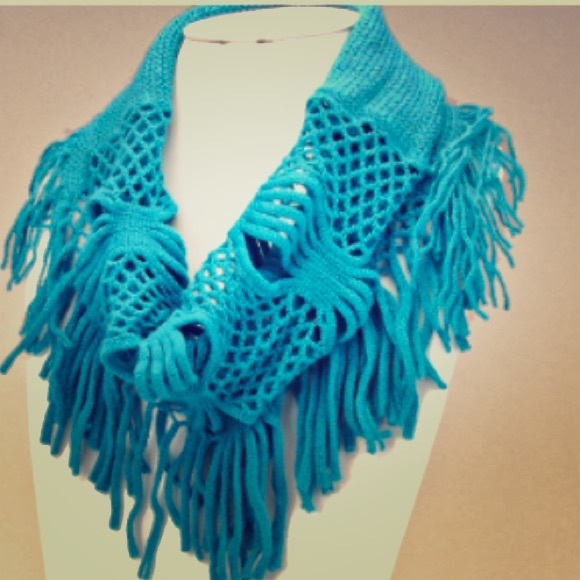 Free Crochet Pattern For Infinity Scarf With Fringe : 67% off IBestest Accessories - Blue Fringe Crochet ...