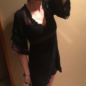 Black embroidered baby doll style dress