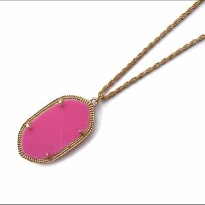 New Pink & Gold Oval Pendant Necklace