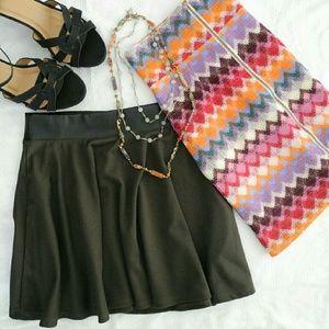 Chevron & Faux Leather Mini Skirts EUC