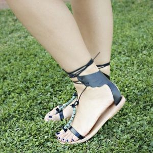 100% real leather black green beaded sandals