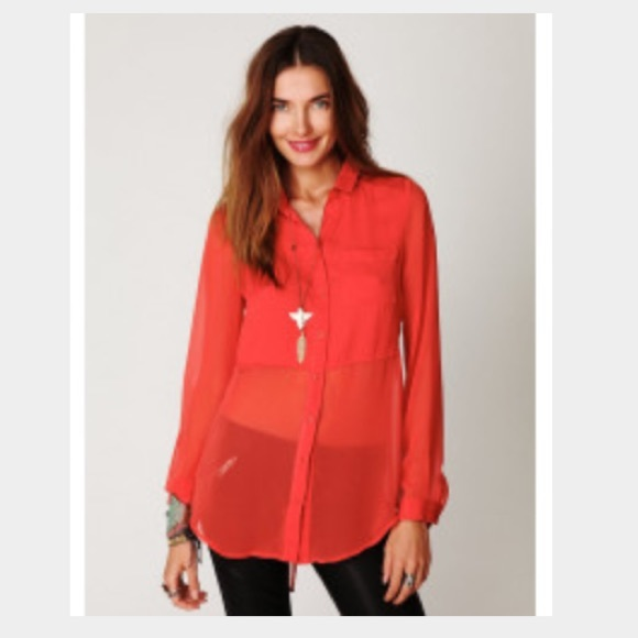 734891cd Free People Tops - Free people sheer button down tunic!