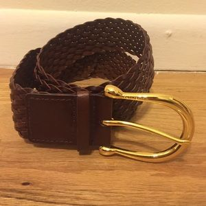 Michael Kors Brown Leather Belt with Gold Buckle