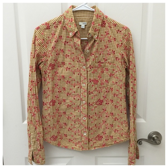 7038042d Anthropologie Tops - Anthropologie Gingham Embroidered Eyelet Shirt