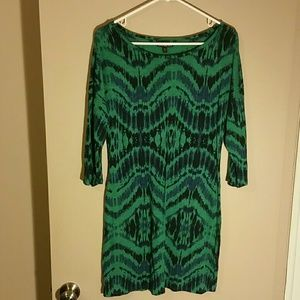 EXPRESS blue & green abstract dress