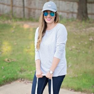Vineyard Vines Striped Grey Heather Knot Top Tee