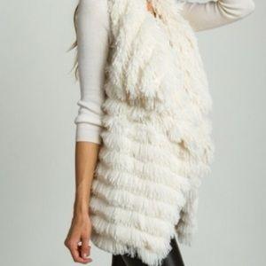 Ivory Faux Fur Vest NWT