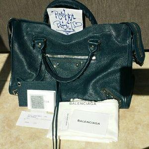 Balenciaga Metallic Edge classic City bag teal