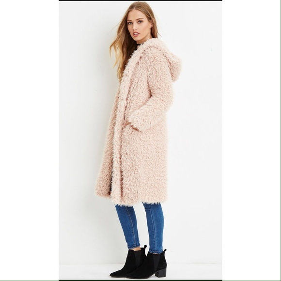 8ccb03c925f2d Forever 21 Jackets & Coats | Pink Hooded Faux Fur Coat | Poshmark