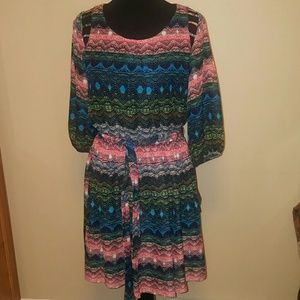 A. Byer Dresses & Skirts - A. Buyer Print Sheer Midi Dress
