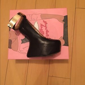 Jeffrey Campbell platform wedges with gold cuff