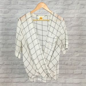 Available Tops - Windowpane Chiffon Faux Wrap Blouse