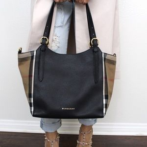 SOLD Burberry Canterbury House Check Leather Tote