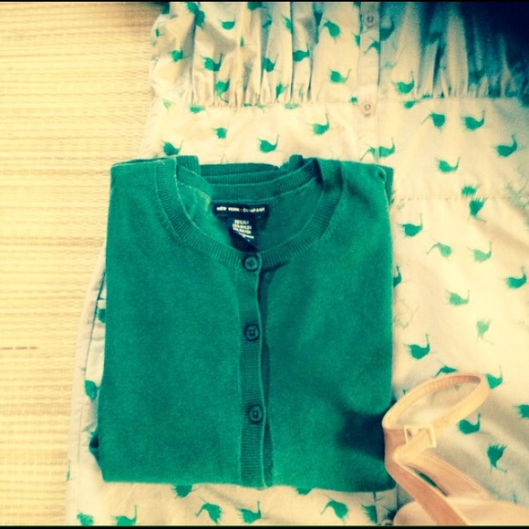 New York & Company Sweaters - 🌟 Green Silk New York & Co Cardigan