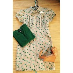 Industry Dresses - 🌟 Vintage Cotton & Silk Bird Dress