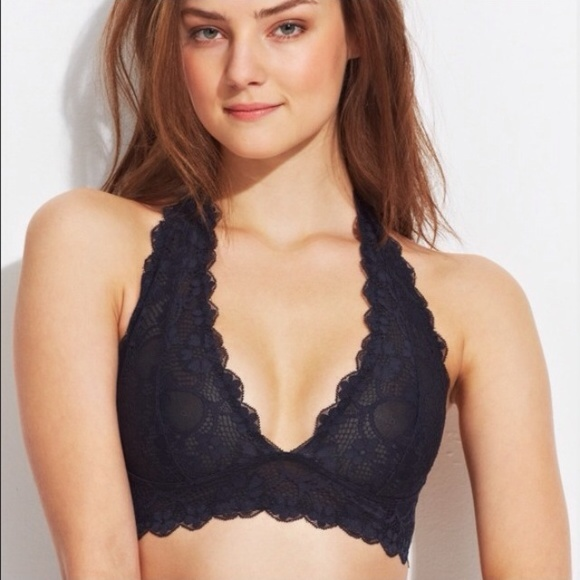 794627a833d411 free people Other - Free people black lace halter bralette M nwot