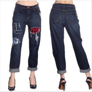 NWT Navy Denim Plaid Patch Jeans