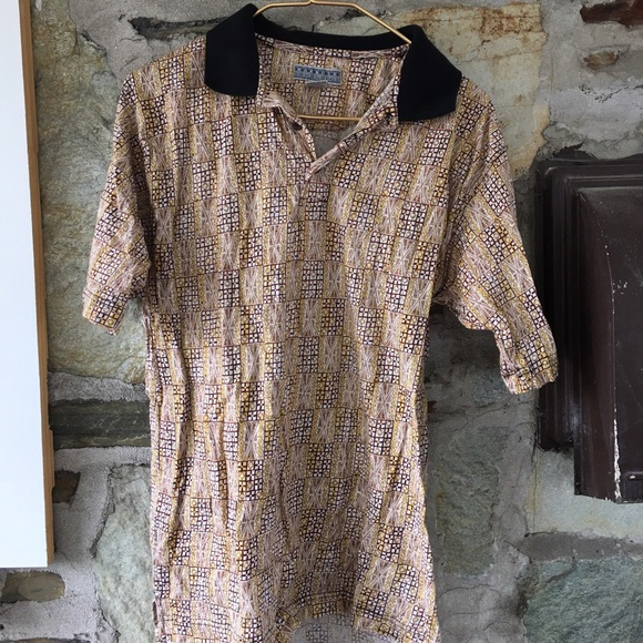 Vintage Other - Patterned Tan Party Shirt! sz small