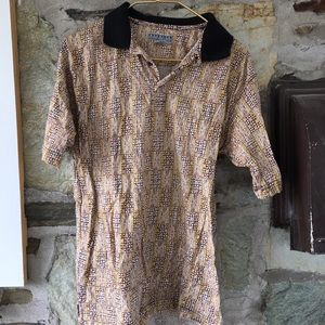 Patterned Tan Party Shirt! sz small