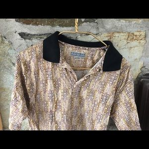 Vintage Shirts - Patterned Tan Party Shirt! sz small