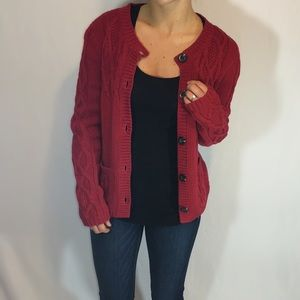 Red Eddie Bauer Chunky Cable Knit Sweater Cardigan