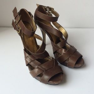 Guess by Marciano Shoes - Guess Strappy Brown Heels