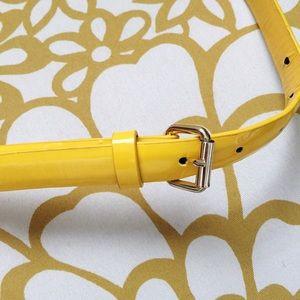 Accessories - Yellow patent-like skinny belt
