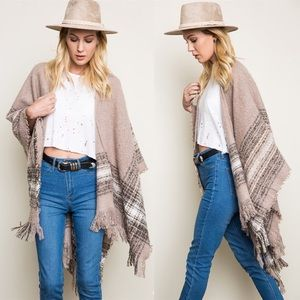 """Autumn Moonlight"" Plaid Print Poncho Cardigan"