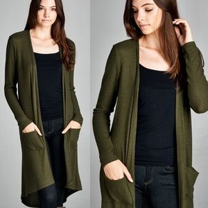 """New Wings"" Olive Long Cardigan"