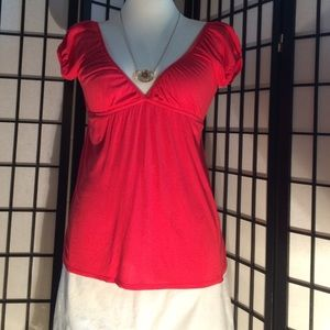 Forever 21 Tops - Coral deep V neck w lace back empire waist top